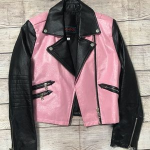 Small pink black zipper faux leather cute jacket